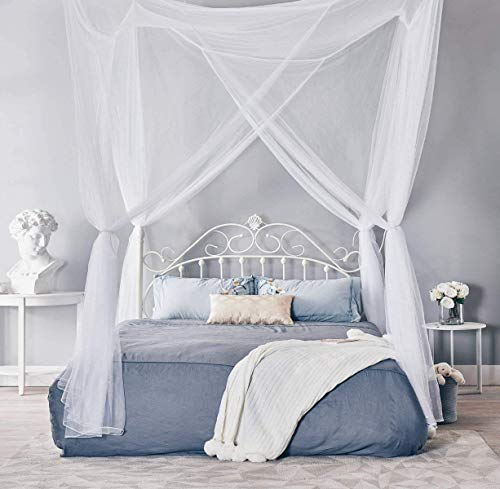 MORDEN MS Four Corner Post Bed Curtain Canopy, Large Mosquito Net Bedroom Decoration Princess Canopy Curtains Fits All Cribs and Bed for King Size, Queen Size Bed, Girls & Adults(White