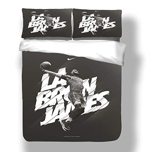 Duvet Cover Set Lebron Los Angeles Basketball Player 23 Bedding King James Lakers Super Star Buzzer Beater Give and Go Quilt Coverlet with 2 Pillow Shams Cleveland Miami Cavaliers Heat