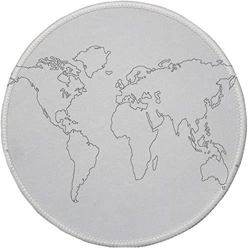 Rutschfreies Gummi-rundes Mauspad Karte Simplistic Design Weltkarte Umriss mit dünner schwarzer Linie Zeichnung Abstrakte Kontinente Dekorativ Schwarz Weiß 7.9