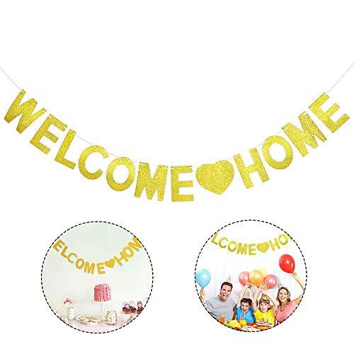 Ritte Bienvenido a Casa Banner, Pancartas Bienvenida Bunting Banner de Papel con Purpurina para Decoración Hogar Fiestas Ceremonias