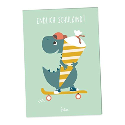 Einladung Einschulung | 6 Klappkarten mit Umschlag | 6er Set | freches Dino-Motiv mit Schultüte für Jungs von JulicaDesign