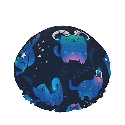 Gorro de ducha reutilizable para mujer, impermeable, para salón de belleza, spa, tamaño mediano (lindos gatos zodíaco kawaii animales de astrología)