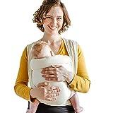 Shabany® Babytragetuch - 100% Bio Baumwolle - Babybauchtrage für Neugeborene Kleinkinder bis 15 Kg - Gewebt - inkl. Baby Wrap Carrier Anleitung - beige (dances)