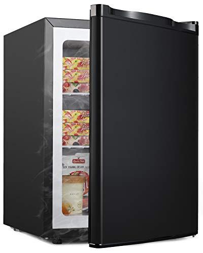 ADT Mini Freezer 2.1 Cubic Feet Small Freezer (Black)
