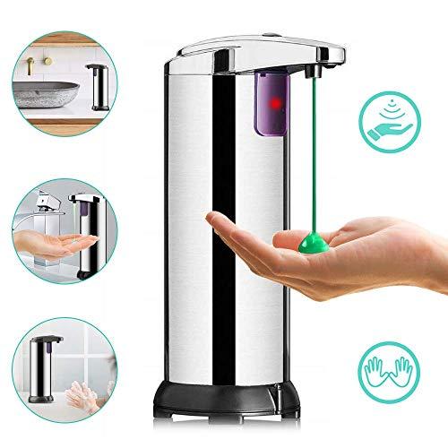ASANMU Seifenspender Automatisch, 250ML Infrarot Seifenspender mit Sensor Edelstahl Moderner Elektrischer Seifenspender Touchless Seifenspender mit Wasserdichter Basis für Bad, Küche und Büro
