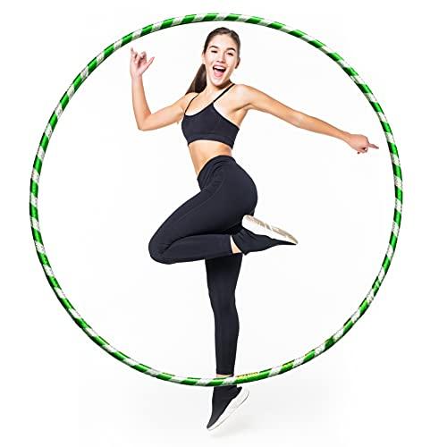 LUMOUS Hula Hoop de 60 cm para adultos y niños, juguete verde para fitness, desmontable y tamaño ajustable, adecuado para gimnasia, baile, ejercicio divertido, niñas, niños y mascotas