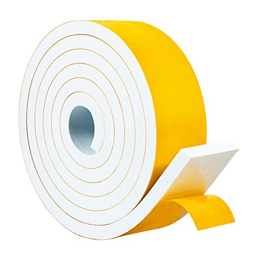 Yotache White Foam Weather Stripping Adhesive 2 Inch Wide X 3/8 Inch Thick, for Windows Air Conditioning AC Insulation, Garage Door Sealing, Total 6.5 Feet Long