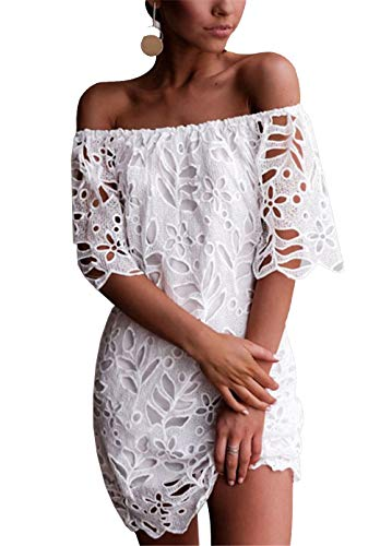 PRETTYGARDEN Women's Sexy Off Shoulder Vintage Floral Lace Flare Short Sleeve Loose Elegant Mini Dress White