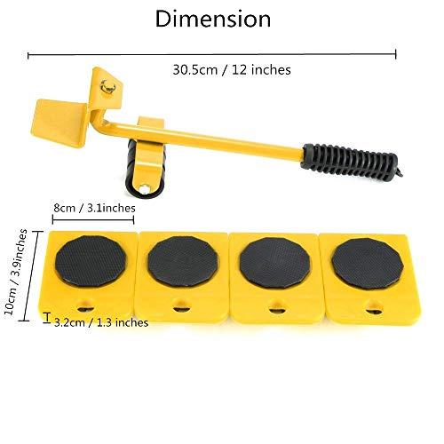 41PKDyEwClL - WeFoonLo 1 juego de muebles elevador Herramienta de elevación y movimiento de muebles para electrodomésticos pesados, 1 barra de elevación y 4 rodillos móviles para muebles (Amarillo)