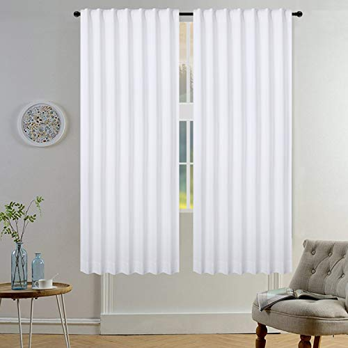 Light & Pro Cotton Duck White Curtains, White Panel Curtains, Dining Room Curtains, Cotton White Curtain, Living Roon Curtain, Tab Top curtain Cotton - 50x72 Inch- White- Set of 2 Panels