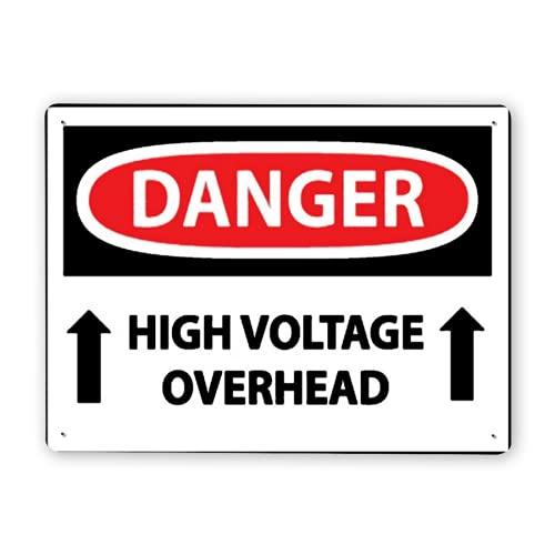 Carteles metálicos,PELIGRO Alto voltaje aéreo1,8x12 In,Señal de aviso Señal de advertencia y decoración del logotipo