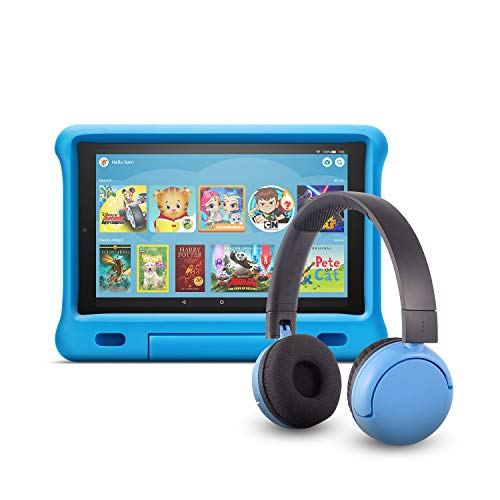 Fire HD 10 Kids Edition Tablet (32 GB, Blue Kid-Proof Case) + BuddyPhones Headset, Pop Time in Blue (Ages 8-15)