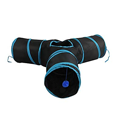 PetPrime Cat Tunnel Collapsible Pet Tube Toy with Balls Cat Entertain Equipment Interactive Tunnel Toy 3 Way Cat Pop-up Tunnel