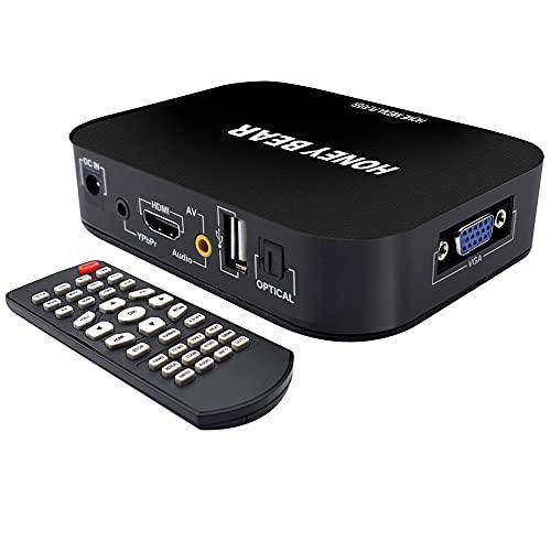 Reproductor multimedia HD 1080, soporta unidades de disco duro externo de 2TB, disco U, lector de tarjetas SD/MMC, conectores de HDMI ,VGA y AV