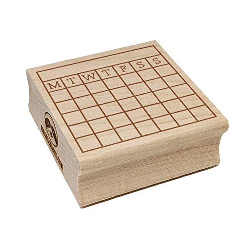 Blank Calendar Monday Start Goal Habit Tracker Square Rubber Stamp for Stamping Crafting - 1.25in Small