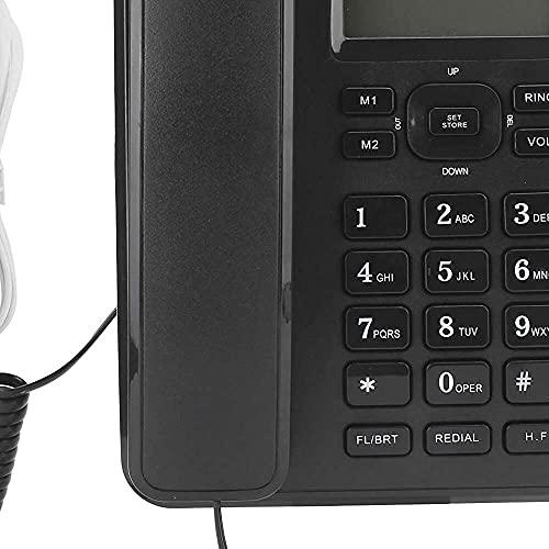 zhaita KX‑T6001CID Teléfono fijo para el hogar con cable fijo teléfono de escritorio con cable para la escuela, el hogar, la oficina, negro