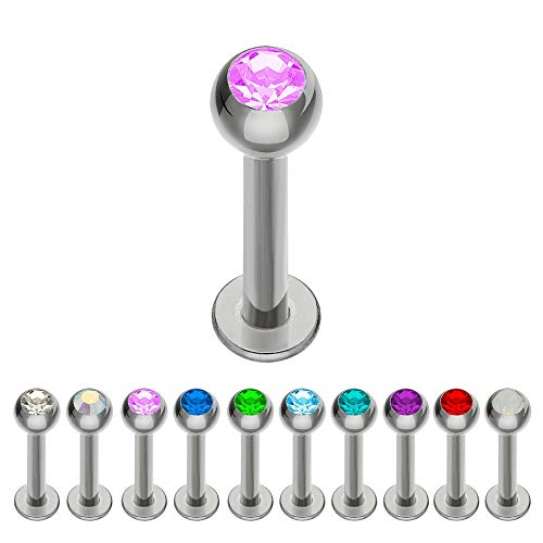 Preisvergleich Produktbild Treuheld® / Silbernes Titan LABRET Piercing mit KRISTALL - [203.] 1.6 x 10 mm (Kugel: 4mm) - pink / rosa