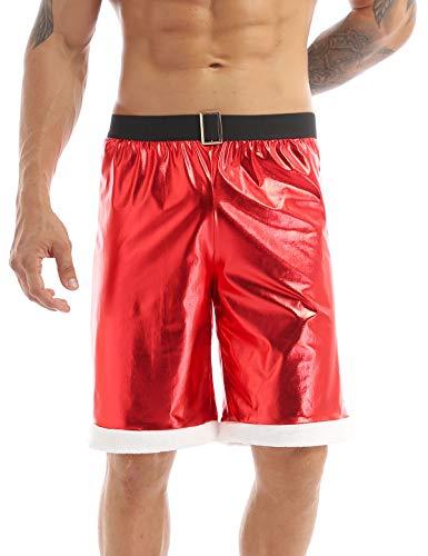renvena Herren Weihnachten Unterwäschen Retroshorts Weihnachts Unterhose Glänzend Boxershorts Männer Trunks Lustige Unterwäsche Rot XXL