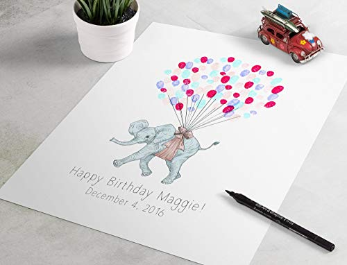 Baby Shower Guest Book Gift - Elephant Baby Shower Guest Sign In is the perfect baby shower guest book, fingerprint tree, thumbprint art
