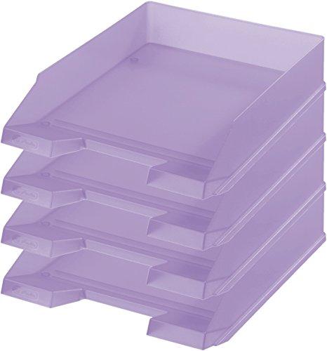 Herlitz Ablagekorb/Briefkorb/Briefablage für A4-C4, Pastell, stapelbar (4er Set in flieder)