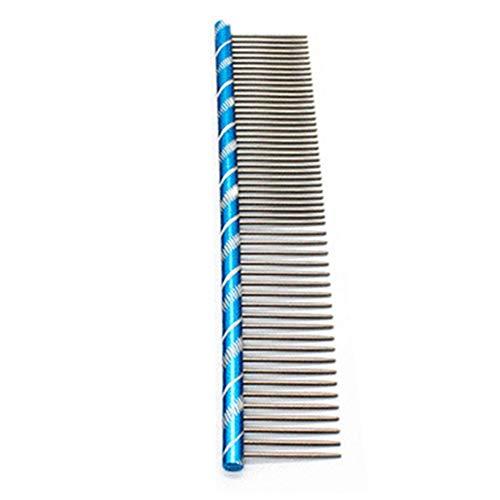 zNLIgHT Verwendung für Haustier Hund Katze Floh Streifen Pflege Kamm Haarschneider Aluminium Reinigungsbürste Werkzeug - Blau