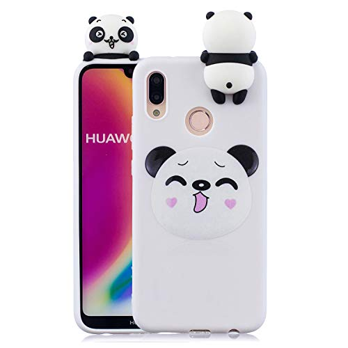 Rose-Otter Compatible pour Housse Coque Huawei P30 Lite Etui Silicone TPU Gel Ultra Fine Slim Antichoc Bumper Cover avec 3D Motif Panda Coeur + Blanc