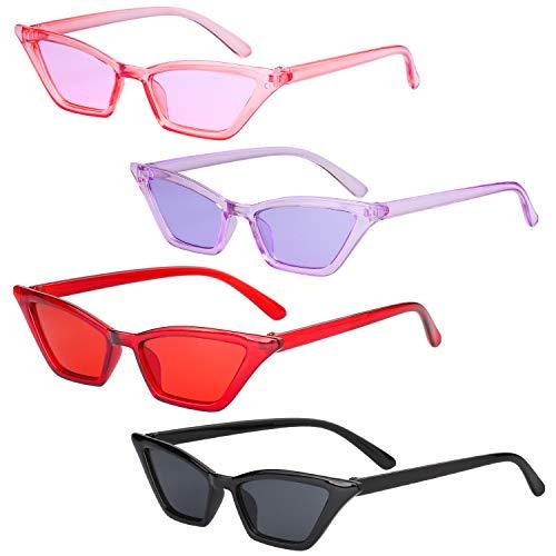 Haichen Retro Vintage Schmale Cateye Sonnenbrille für Frauen Clout Brille Kunststoffrahmen Gläser (B)