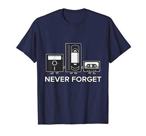 Never Forget T Shirt Funny Floppy Disk VHS TAPE 90S 80s Tee