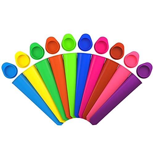 joyoldelf Lot de 10 Moules à Glace - Moule à Glace Moules Esquimaux Réutilisable Fabriqué à Partir de 100% de Silicone de Qualité Alimentaire - sans BPA - Idéal pour Les Enfants et Les Adultes