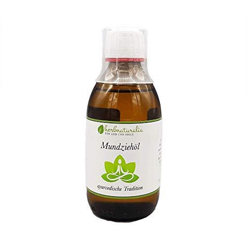 herbnaturalia ® Mundziehöl - Die ayurvedische Ölzieh Kur⎪ 250ml hochwertiges Öl mit Vitamin E ⎪ frischer Minzgeschmack⎪inkl. praktischem Dosierbecher