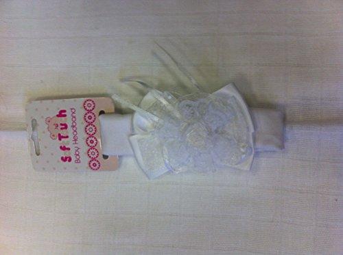 Magnifique bandeau élastique pour bébé fille avec nœud en satin et fleur en dentelle par Soft Touch (Blanc)