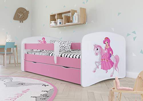 Wonderhome Kids Lit d'enfant Complet 70x140 80x160 80x180 sommier tiroir barrierères Matelas pour Filles garçons lit Simple - Rose - 140x70 - Princesse à Cheval
