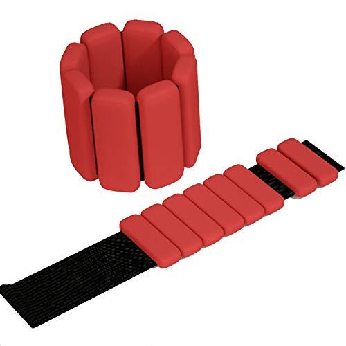 NXLWXN Juego de pesas de muñeca ajustables para tobillo y muñeca, pulsera de fitness, color rojo, 1 libra x 2