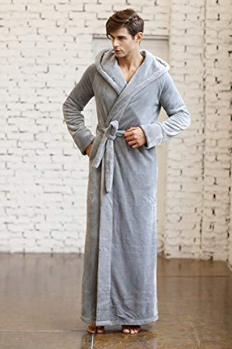 DHFNMG Badjas, Winter Paar Flanellen Hooded Badjas, Europa Merk Man Vrouwelijke Effen Robe Warm Thuis Draag Korte Nachtjapon Bad Rboe