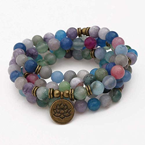 HYJMJJ Pulsera Feng Shui Bead 8mm 108 Piedra Natural Pulseras Coloridas Lotus Buddha Árbol de la Vida Collar Colgante Pulsera/Pulsera de Piedra/Pulsera de Yoga Pulsera de Abalorios de Amuleto
