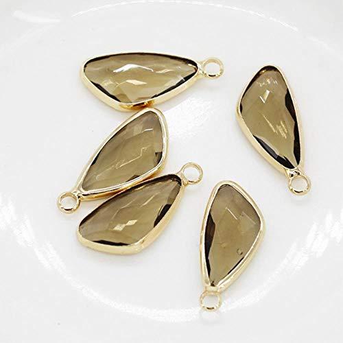12 piezas de 10 x 18 mm hoja de cristal facetado con piedra de doble cara para colgar en el collar, pendientes y pulseras, geométricos, color café