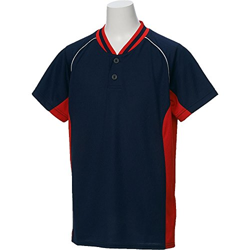 アシックス(asics) 野球 ウェア ジュニア ベースボール シャツ 半袖 2ボタン BAD20J 150サイズ ネイビー/レッド BAD20J ネイビー/レッド 150
