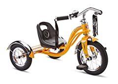 The Schwinn Roadster Kid's Tricycle is designed with a retro look and a steel trike frame, and its low center of gravity makes it easy to ride and perfect for young riders Its adjustable sculpted seat moves forwards and backwards with five lock in po...