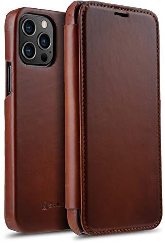 """StilGut Book Hülle kompatibel mit iPhone 12 Pro Max (6.7"""") Hülle aus Leder zum Klappen, Klapphülle, Handyhülle, Lederhülle - Cognac Antik"""
