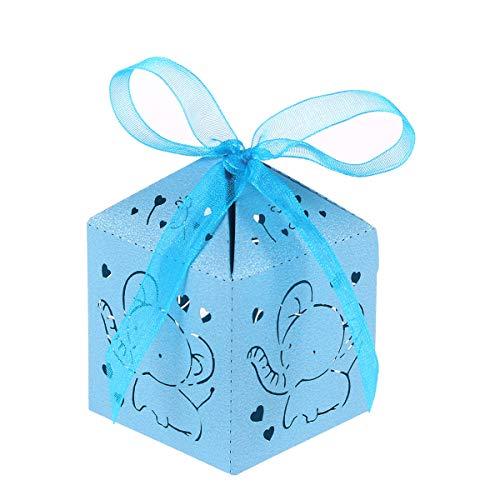 STOBOK 50pcs Boîtes à Dragée Marié Motif Mignon Elephant Mini Coeur Ballotin à Cadeau en Papier avec Ruban Noeud Papillon pour Mariage Baptême Bleu