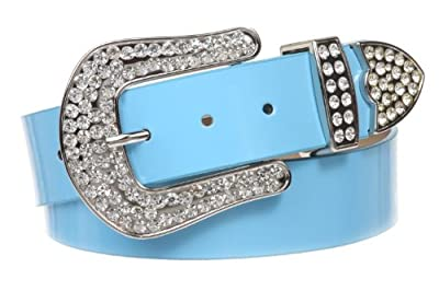 1 1/2 (38 MM) Snap On Western Rhinestone Plain Faux Patent Synthetic Leather Belt Color: Light Blue Size: L/XL - 39