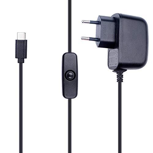 Miuzei Raspberry Pi 4 Netztei, 5V 3A USB-C Stecker Ladegerät mit EIN/Aus Schalter für Raspberry Pi 4 Model B 1GB / 2GB / 4GB