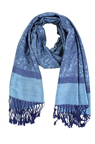 Paskmlna Paisley Jacquard Pashmina Shawl Wrap Scarf Stole (Blue-black01806)