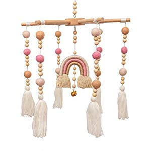 Baby Crib Mobile – MMH Rainbow Crib Mobile Wooden Mobile with Colorful Cotton Ball Wool Felt Ball Boho Baby Mobile Bassinet Mobile for Crib Toy Mobile for Baby Nursery and Ceiling Decoration (Pink)
