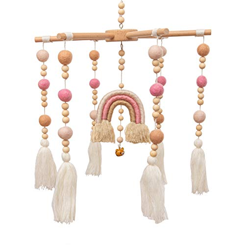 Baby Crib Mobile - MMH Rainbow Crib Mobile Wooden Mobile with Colorful Cotton Ball Wool Felt Ball Boho Baby Mobile Bassinet Mobile for Crib Toy Mobile for Baby Nursery and Ceiling Decoration (Pink)