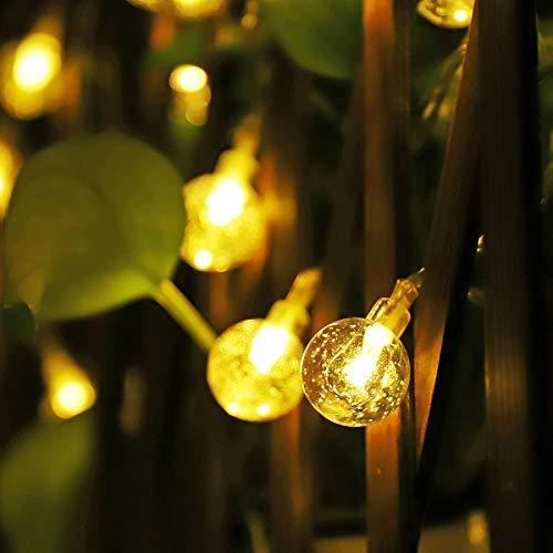 SALCAR 5M Led Guirlande Lumineuse Solaire, Chaîne de Lumière Noël avec 20 Balles, IP44, Eclairage de Décoration Intérieur et Extérieur, Boule de Jardin, Balcon pour Party, Mariage (Blanc chaud)