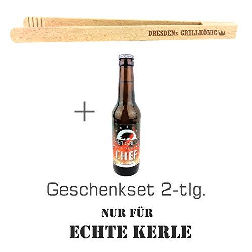 """Geschenkset 2-tlg. """"Nur für echte Kerle"""" mit Bier """"Hier grillt der Chef"""" und Grillzange mit Spruch """"Dresden´s Grillkönig""""/ Geburtstagsgeschenk / kreatives Geschenk / Männer / Grillen"""