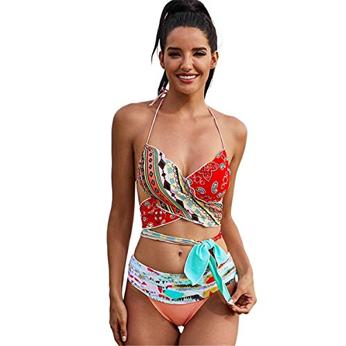 NgMik Trajes de baño de Dos Piezas Traje de baño Dividido de Verano de señoras con Almohadilla de Pecho y sin Soporte de Acero, Bikini de impresión Floral de Color. Conjuntos de Bikini