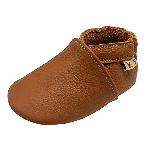 YALION Chaussures Bébé - Chaussons Bébé - Chaussons Cuir Souple - Chaussures Cuir Souple Premiers Pas - Bébé Fille Chaussures Bébé Garçon(Marron Brillant, 6-12 Mois)