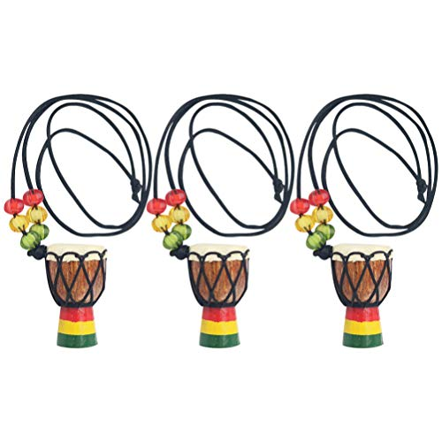 Holibanna 3 Piezas Instrumento Collares Colgante Música Tambor Africano Mini Djembe Percusión...